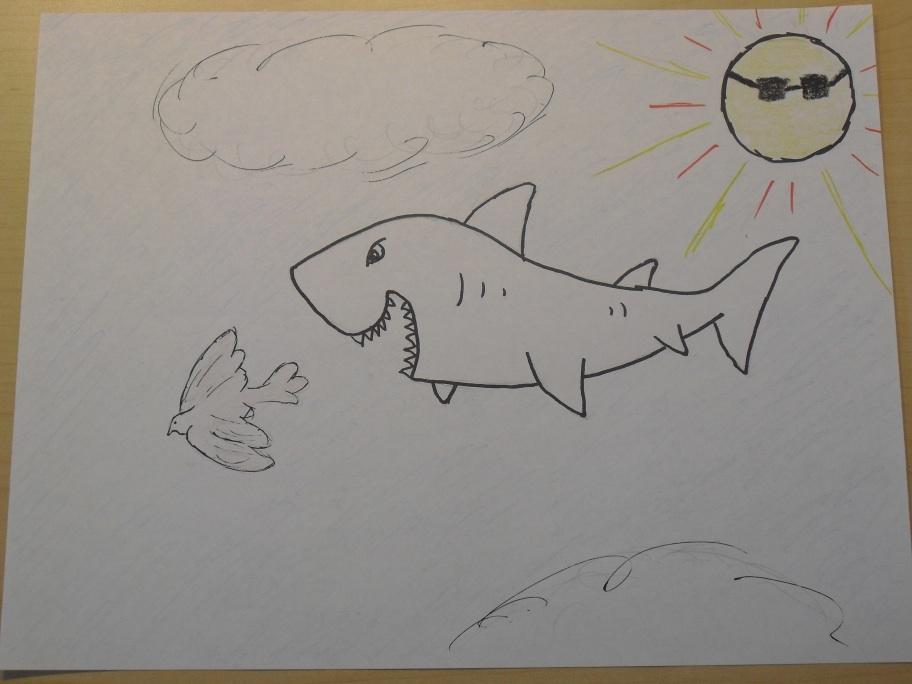 Flying shark chasing a bird